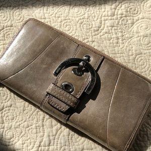 Coach Soho Zip around Taupe Wallet